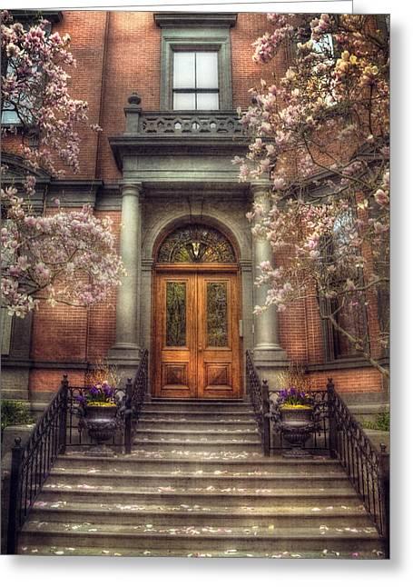 Joann Vitali Greeting Cards - Spring in Boston - Boston Doorways Greeting Card by Joann Vitali