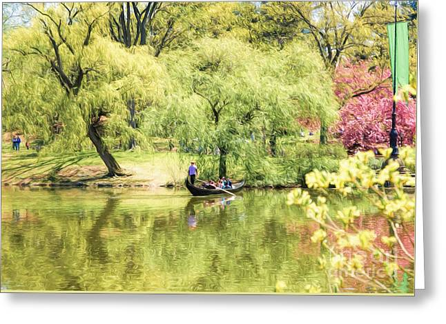 Pond In Park Greeting Cards - Spring in Central Park Greeting Card by Ava Reaves
