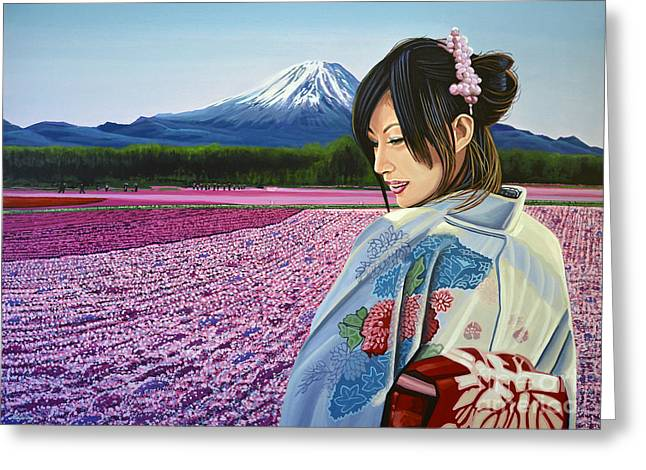 Geisha Greeting Cards - Spring in Japan Greeting Card by Paul Meijering