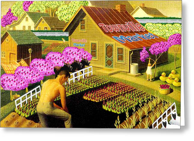 Grant Wood Greeting Cards - Spring in TownVille Greeting Card by Gravityx9 Designs