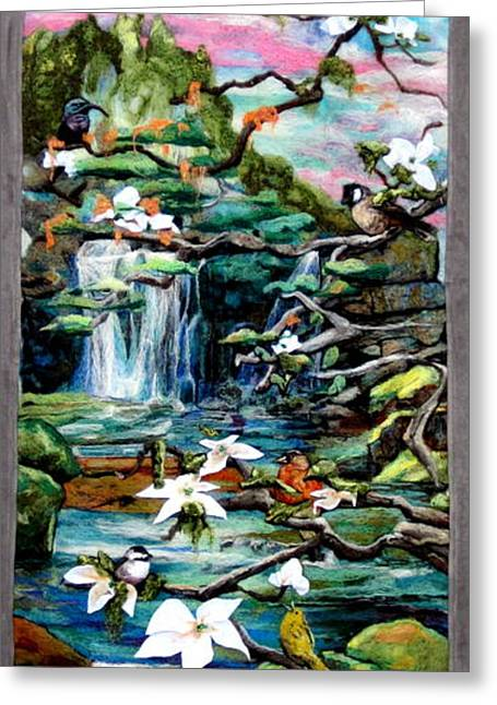 Serenity Tapestries - Textiles Greeting Cards - Spring Greeting Card by Kimberly Simon