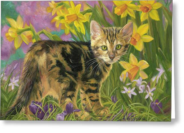 Spring Kitten Greeting Card by Lucie Bilodeau
