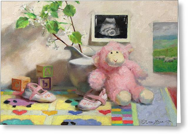 Toys Paintings Greeting Cards - Spring Lambs Greeting Card by Anna Bain