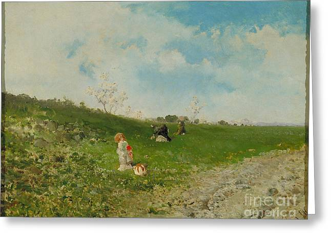 1874 Greeting Cards - Spring Landscape Greeting Card by Celestial Images