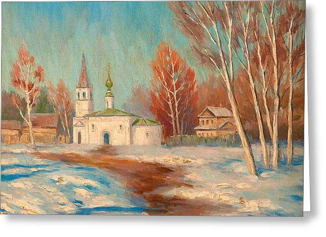 Orthodox Paintings Greeting Cards - Spring Landscape Greeting Card by Sergei Arsenevich Vinogradov