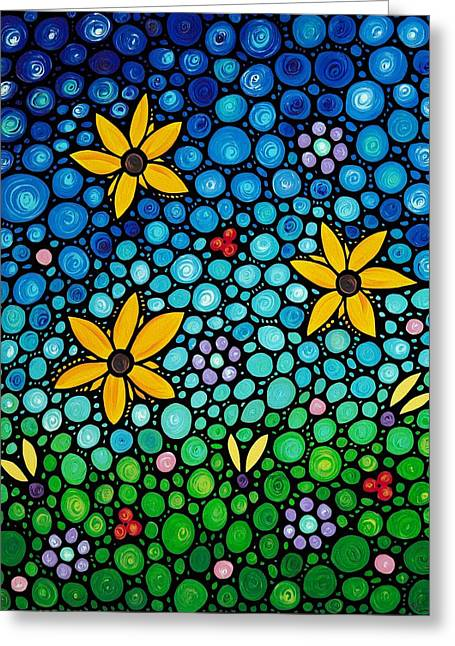 Mosaic Paintings Greeting Cards - Spring Maidens Greeting Card by Sharon Cummings