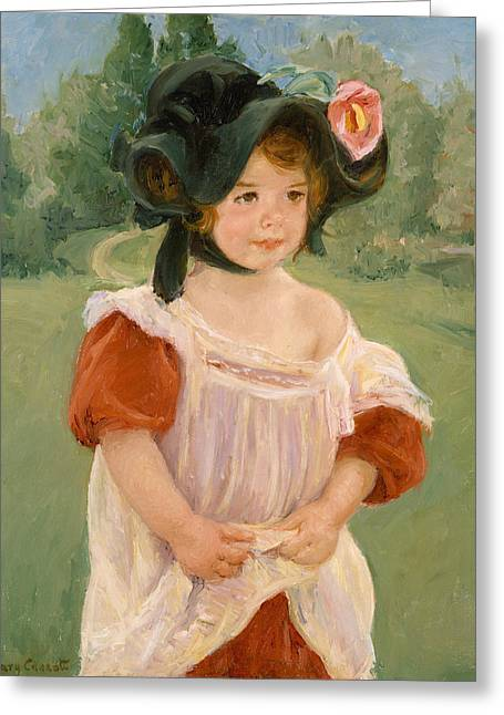 Spring, Margot Standing In A Garden Greeting Card by Mary Cassatt