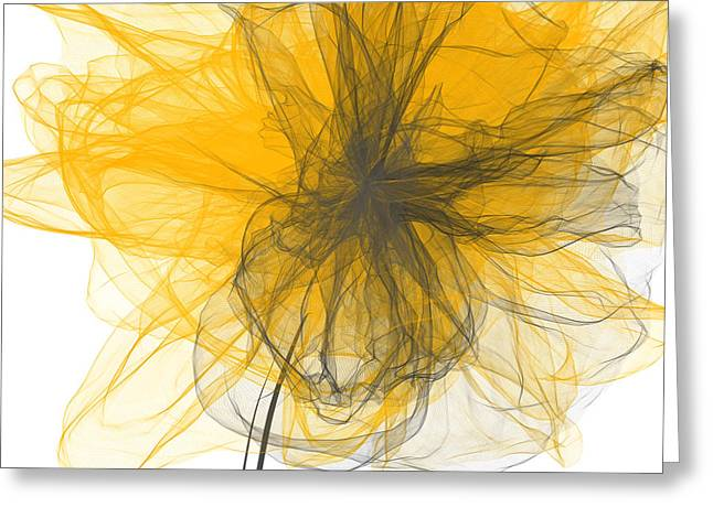 Yellow And Gray Abstract Greeting Cards - Spring Melody Greeting Card by Lourry Legarde