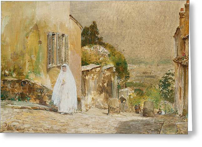 Bridal Gown Greeting Cards - Spring Morning at Montmartre Greeting Card by Childe Hassam