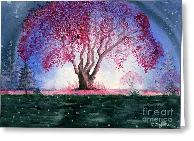 Fantasy Tree Greeting Cards - Spring Night Greeting Card by Melly Terpening