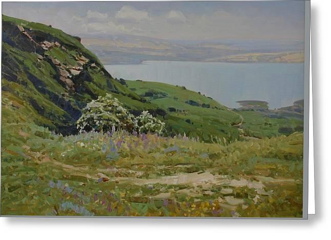 Landscape Framed Prints Greeting Cards - Spring on the lake Greeting Card by Aleksander Babich