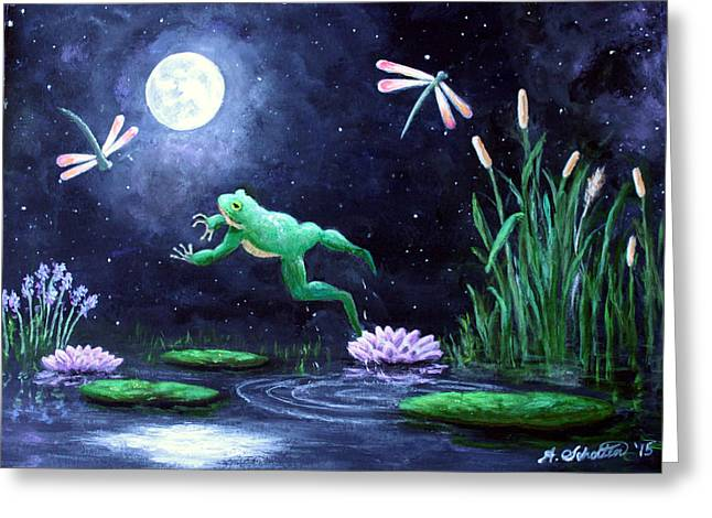 Flying Frog Greeting Cards - Spring on the Pond Greeting Card by Amy Scholten