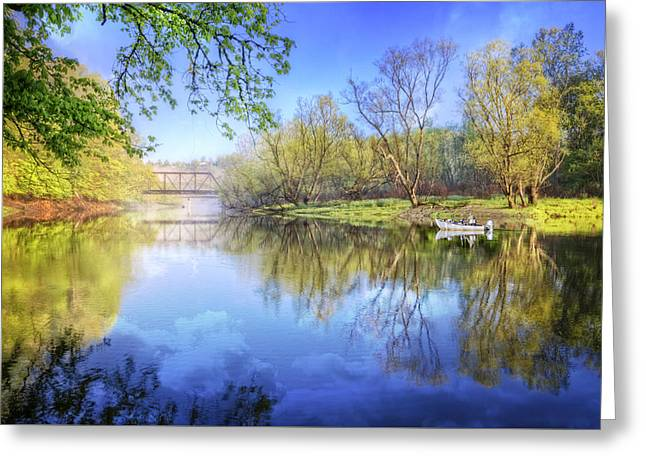 Reflections In River Greeting Cards - Spring on the River Greeting Card by Debra and Dave Vanderlaan