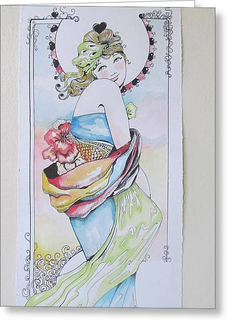 Art Nuveau Greeting Cards - Spring  Greeting Card by Paola T Pileri Hernandez