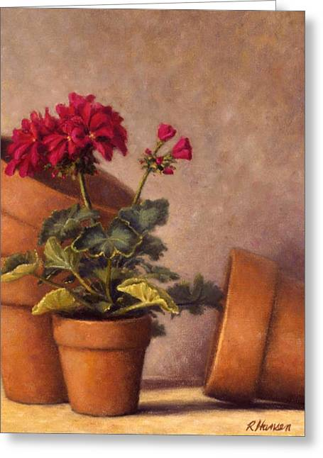 Red Geraniums Greeting Cards - Spring Planting Greeting Card by Rick Hansen