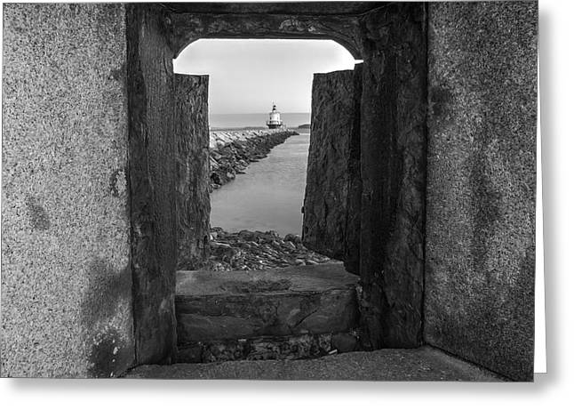 Portland Greeting Cards - Spring Point Ledge Light House BW Greeting Card by Susan Candelario