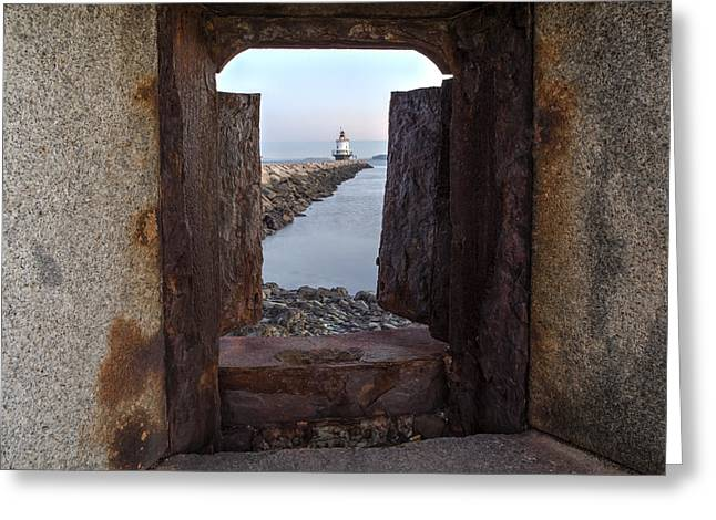 Spring Point Ledge Light House Greeting Card by Susan Candelario