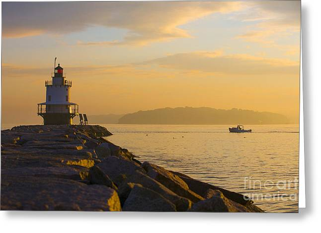 Spring Point Lighthouse At Dawn. Greeting Card by Diane Diederich