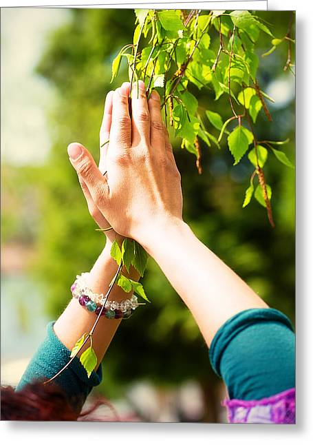 Praying Hands Greeting Cards - Spring prayer  adoring the healing powers of the spring Tree in hands Greeting Card by Jozef Klopacka