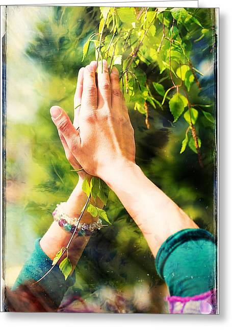 Praying Hands Greeting Cards - Spring prayer  adoring the healing powers of the spring. Tree in hands with color pattern. Greeting Card by Jozef Klopacka