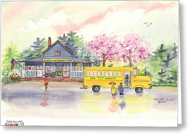 Spring Rain Greeting Card by Melody Allen