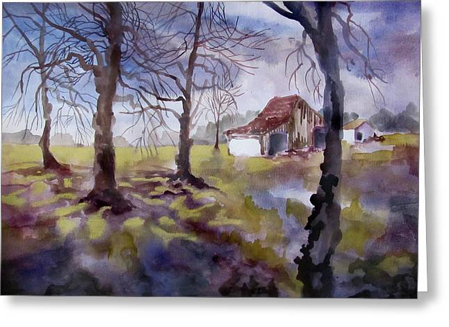 Indiana Springs Paintings Greeting Cards - Spring Rains in Miami County Greeting Card by James Huntley