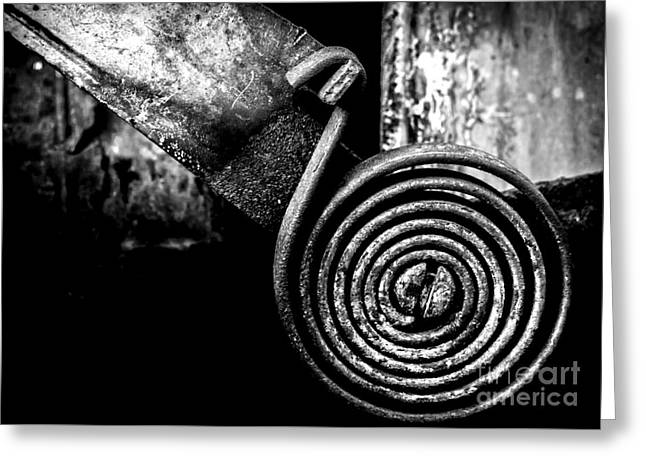 Mechanism Greeting Cards - Spring Roll - BW Greeting Card by James Aiken