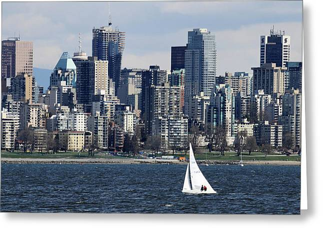 Vancouver Greeting Cards - Spring sailing in Vancouver city Greeting Card by Pierre Leclerc Photography