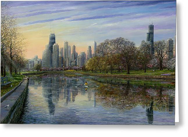 Chicago Skyline Art Greeting Cards - Spring Serenity  Greeting Card by Doug Kreuger