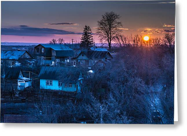 Snowy Evening Greeting Cards - Spring Setting Sun  Greeting Card by John Williams