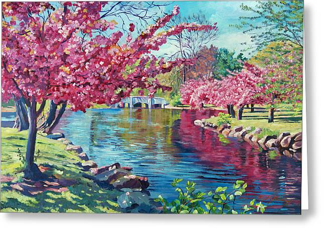 Cherry Blossoms Paintings Greeting Cards - Spring Soliloquy Greeting Card by David Lloyd Glover