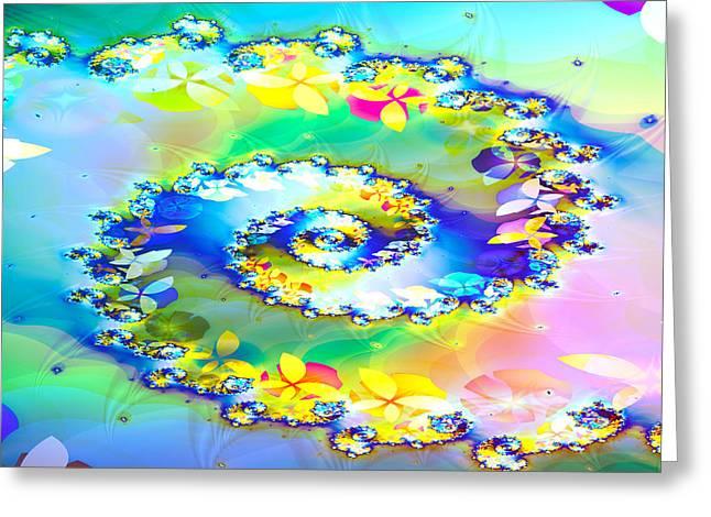 Fractals Fractal Digital Art Greeting Cards - Spring Spiral Greeting Card by Sharon Lisa Clarke