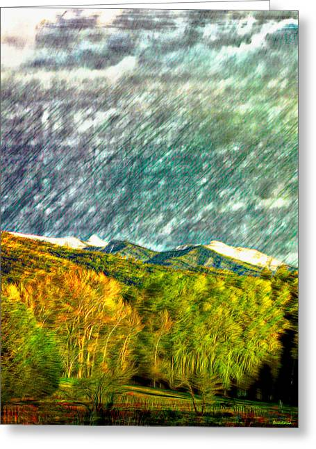 White Digital Art Greeting Cards - Spring Storm Over Truchas Peaks Greeting Card by Anastasia  Ealy
