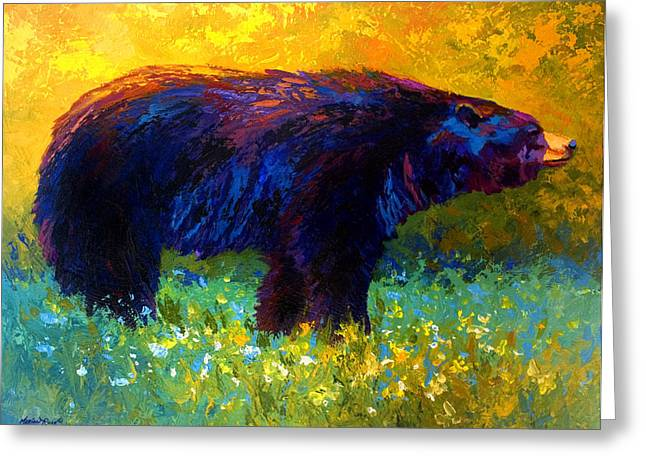 Alaska Greeting Cards - Spring Stroll - Black Bear Greeting Card by Marion Rose