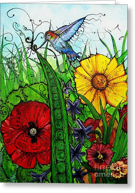 Life Line Mixed Media Greeting Cards - Spring Things Greeting Card by Carrie Jackson