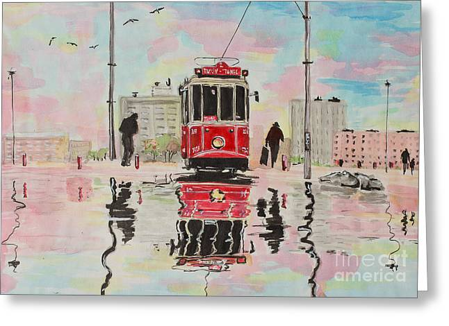 Tram Red Paintings Greeting Cards - Spring tram Greeting Card by Marya Patapovich