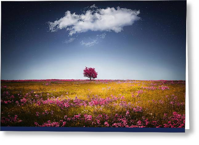 Nature Scene Digital Art Greeting Cards - Spring tree Greeting Card by Bess Hamiti