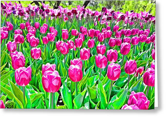 Photomanip Greeting Cards - Spring Tulips Greeting Card by Stephen Kinsey