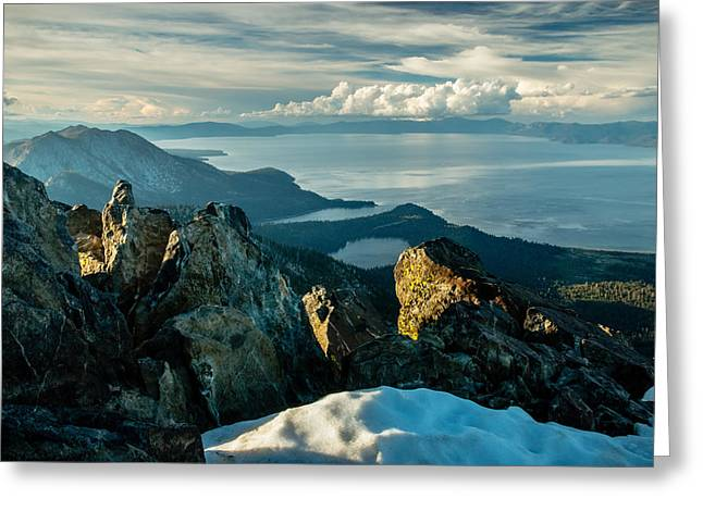 Spring View From The Top Of Mount Tallac Greeting Card by Mike  Herron