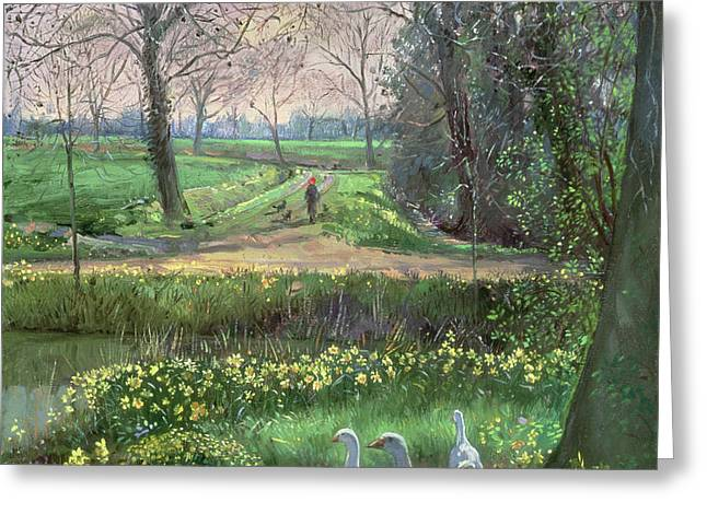 Geese Paintings Greeting Cards - Spring Walk Greeting Card by Timothy Easton