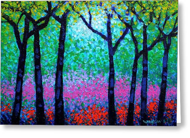 Restaurant Canvases Greeting Cards - Spring Woodland Greeting Card by John  Nolan