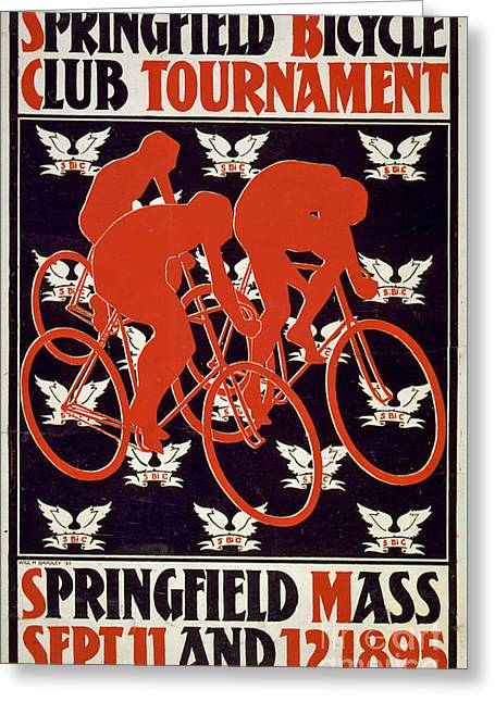 Silkscreen Greeting Cards - Springfield Bicycle Club Tournament Vintage Poster Greeting Card by Edward Fielding