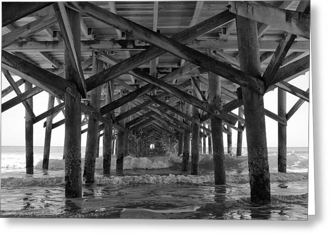 Ocean Art Photography Greeting Cards - Springmaid Pier in Myrtle Beach South Carolina Greeting Card by Stephanie McDowell