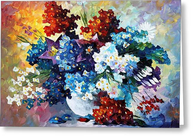 Decor Drawings Greeting Cards - Springs Smile - PALETTE KNIFE Oil Painting On Canvas By Leonid Afremov Greeting Card by Leonid Afremov