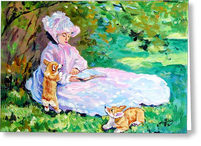 Puppies Greeting Cards - Springtime after Monet Greeting Card by Lyn Cook