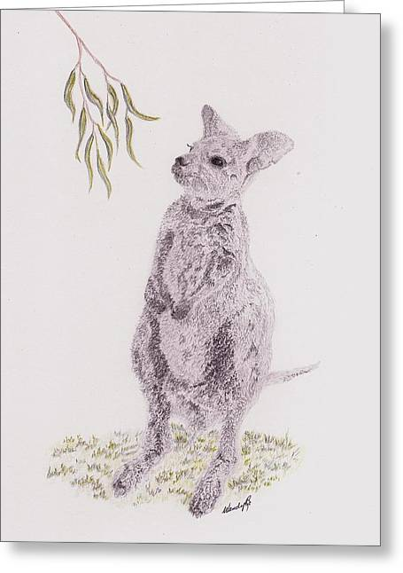 Kangaroo Drawings Greeting Cards - Springtime Arrival Greeting Card by Wendy Brunell