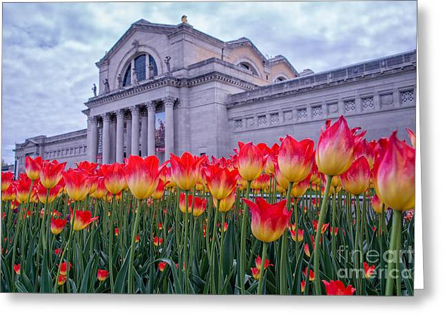 Slam Greeting Cards - Springtime at the Art Museum Greeting Card by Anne Warfield