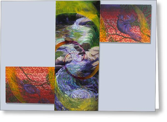 Babbling Paintings Greeting Cards - Springtime Color Song Greeting Card by Anne Cameron Cutri