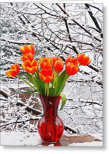 Tulip Tree Digital Art Greeting Cards - Springtime in Colorado 3 Greeting Card by Diane Alexander