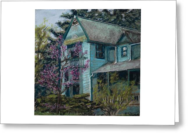 Old Door Pastels Greeting Cards - Springtime in Old Town Greeting Card by Mary Benke